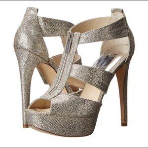 MK 'Berkeley' silver sparkle platform heels, 10M